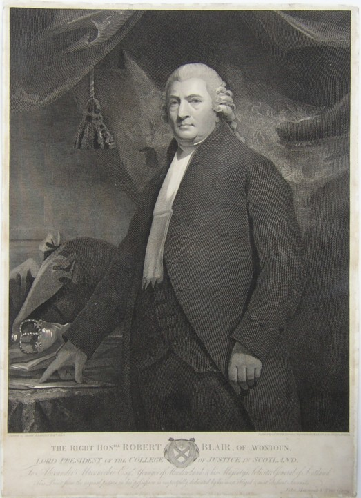 Portrait of the Rt Hon Robert Blair of Avontoun Lord President of the College of Justice in Scotland. Engraved by the engraver James Heath from the painting by the artist Sir Henry Raeburn. 1813.