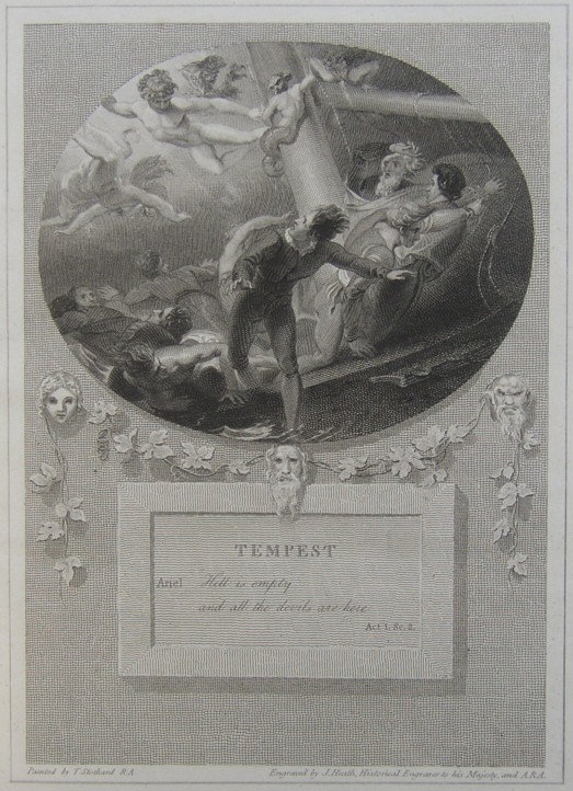 Engraving of the Tempest by William Shakespheare. Painted by the artist painter Thomas Stothard RA, Engraved by James Heath Engraver.