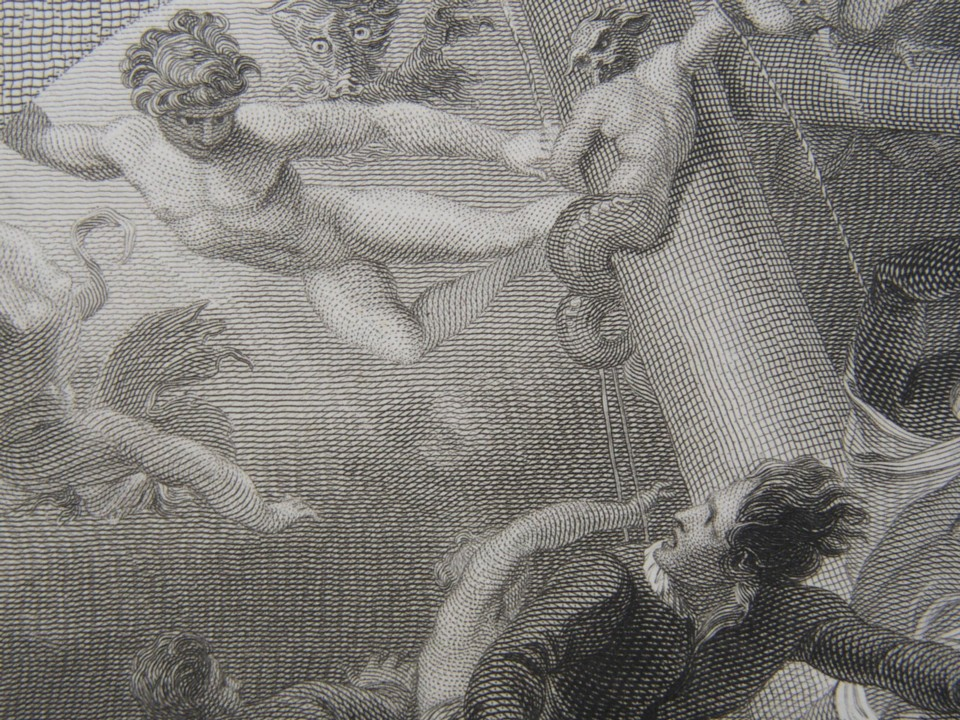 Detail from the engraving of the Tempest by William Shakespheare. Painted by the artist painter Thomas Stothard RA, Engraved by James Heath Engraver.