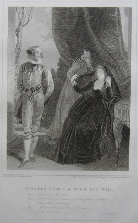 Engraving of Twelfth Night or What You Will by William Shakespeare. Painted by the artist painter Thomas Stothard RA, Engraved by James Heath Engraver.