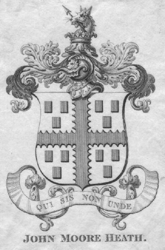 Bookplate of Rev John Moore Heath 1808-1882 of Millard, Liphook, Hampshire 