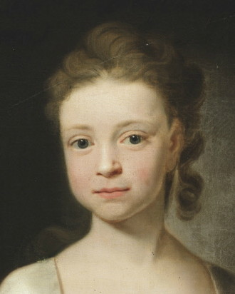 Detail from the portrait of Miss Isabella Astley (1724-1741) painted in 1732 by the artist John Theodore Heins (1697-1756) of Norwich, Norfolk, painter.
