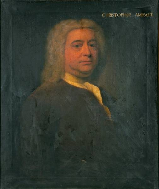 Portrait of Christopher Amiraut painted by John Theodore Heins in 1739