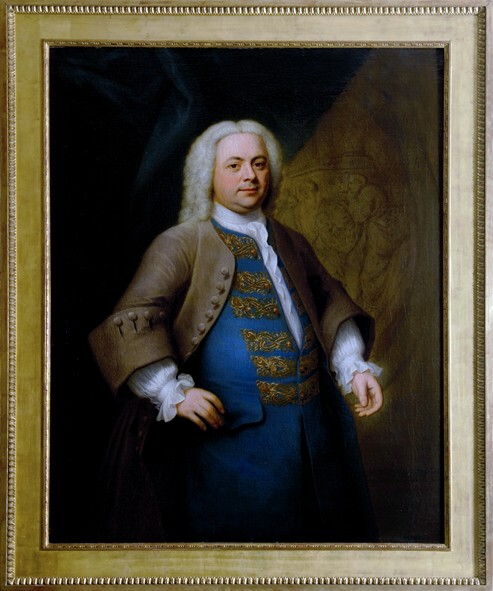 Portrait of the Musician G. F. Händel Pained by the artist John Theodore Heins of Norwich, Norfolk painter Signed 'Heins: pinxit 1740'
