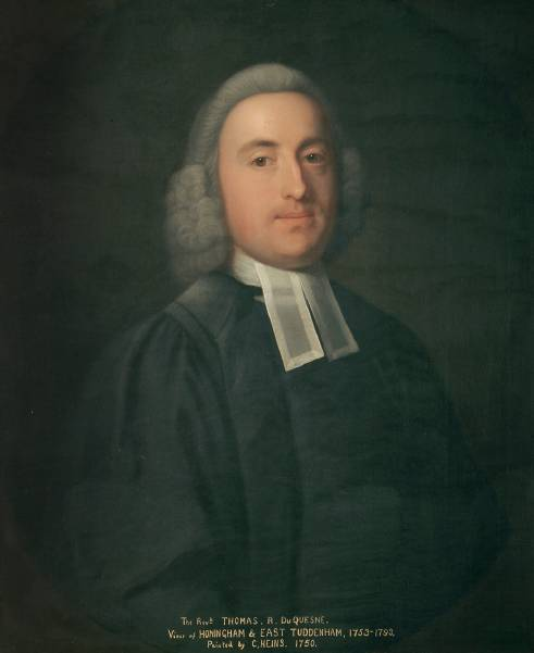 Portrait of the Rev. Thomas Roger Duquesne (Du Quesne) painted by the artist John Theodore Heins 1697-1756 painter