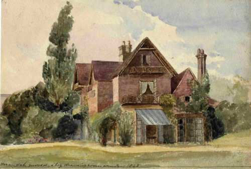 Painting of Kitlands House in 1848, Coldharbour, Holmwood, Surrey, England.