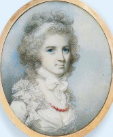 Miniature Portrait of Ann Graham nee Paul Wife of Robert Graham of Kinross Scotland Painted by the artist George Engleheart 1750-1729. Click for larger image.
