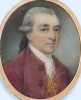 Miniature portrait of John Graham Esq 1741-1775 of the East India  Company  and  of  the  Supreme  Council  of  Calcutta.  Painted  by  the  artist  James  Nixon.  Click for larger image.
