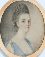 Miniature portrait of Mary Graham nee Shewen 1737-1798 who married John Graham of Calcutta Bengal  India. Click for larger image.