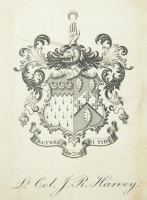 Bookplate of Lieutenant Colonel John Robert Harvey 1861-1921 of Holmwood, Thorpe, Norfolk. Click for larger image.
