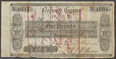 Nowich Crown Bank Promise to pay the Bearer on demand Five Pounds here or at Messers Hankey & Co Bankers London Value received Norwich 11th June 1842 For Harvey and Hudson's Signature R J H Harvey