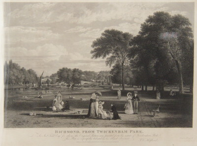 Richmond, from Twickenham Park engraved by Charles Heath from the painting by Thomas Christopher Hofland.  Published 1822.