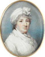 Miniature portrait of Mrs Heath presumably Mary Phillipson 1757-1819 defacto wife of James Heath. Click for larger image and more information