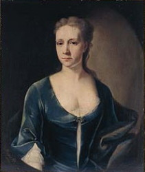Portrait of a lady in a blue dress painted in 1731 by John Theodore Heins of Norwich Norfolk. Click for larger image.