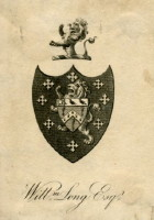 Bookplate of William Long Esq. Click for larger image.