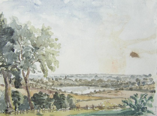 Drawings from the Eastbury Estate near Watford showing the lake in 1852.