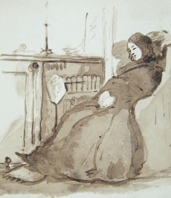 Drawings from the Eastbury Estate near Watford in the early 1850s showing Eliza Louisa Marsh-Caldwell beside the fire.