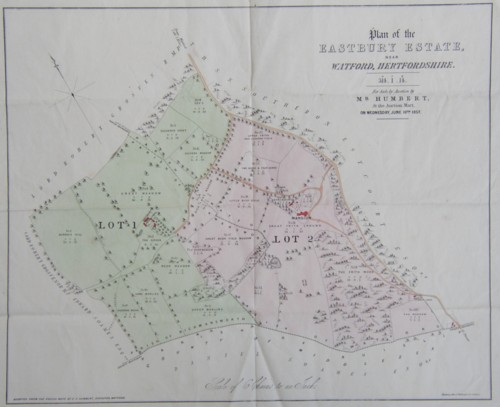 Plan map of the Eastbury Estate near Watford Hertfordshire sold by Mr Humbert in 1857. Family home of Arthur Marsh and Anne Marsh Caldwell.