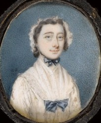 Miniature portrait of an unknown Lady painted by the artist Gervase Spencer 1715?-1763 painter based in London. Click for more information