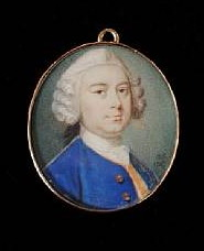 Miniature Portrait of a Gentleman Painted in 1747 by Gervase Spencer 1715-1763. Click for larger image.
