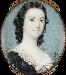 Miniature Portrait of an Unknown Lady Painted in 1748 by Gervase Spencer 1715-1763. Click for larger image.