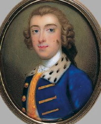 Miniature Portrait of an unknown Gentleman in a Blue Coat Painted in 1748 by Gervase Spencer 1715-1763 Artist and miniature portrait painter who was based in London. Click for larger image.