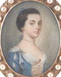 Miniature Portrait of an Unknown Lady Painted in 1754 by Gervase Spencer 1715-1763 artist and miniature portrait painter who was based in London. Click for larger image.