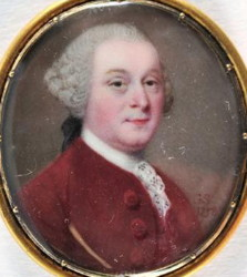 Miniature portrait of a man painted in 1758 by Gervase Spencer. Click for larger image.