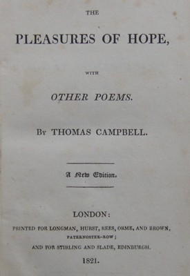 Title page (1820) from The Pleasures of Hope with Other Poems by Thomas Campbell.