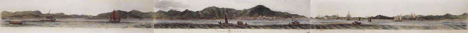 Complete 360 degree view of the anchorage of Hong Kong drawn by Lt Leopold George Heath of HMS Iris in 1846