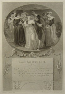 Loves Labours Lost Painted by Thomas Stothard RA, Engraved by James Heath Engraver to his Majesty and his RH the Prince of Wales. Click for larger image