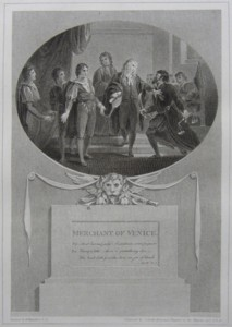 Merchant of Venice Painted by Thomas Stothard RA, Engraved by James Heath Engraver to his Majesty and his RH the Prince of Wales. Click for larger image