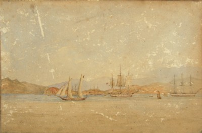 Drawing of Hong Kong harbour as seen from the Anchorage by Leopold George Heath of HMS Iris for the Hydrographic Office