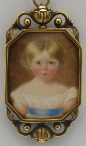 Miniature portrait of Mary Emma Lady Heath nee Marsh painted in 1830  by the artist William Egley 1798-1870