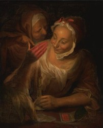 Portrait of two women by candlelight painted in 1750 by the artist John Theodore Heins Heine 1697-1756 painter of Norwich Norfolk painting