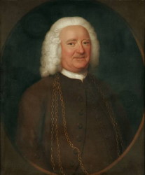 Portrait of Matthew Goss (1680-17??) by the Norfolk artist John Theodore Heins (1697-1756) of Norwich painter oil painting canvas. Click for larger image.
