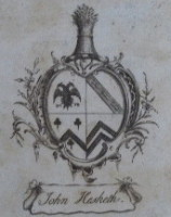 bookplate of John Hesketh 1750-1815 wine merchant of Porto in Portugal and Liverpool in England.  Click for more details.