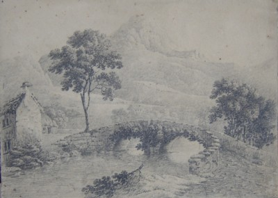 Picture of a Bridge drawn by Anne Marsh Caldwell early 1800s possibly Kenmore Scotland Click for larger image