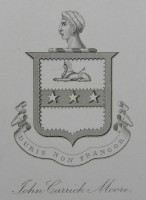Bookplate of John Carrick Moore 1805-1898. Duris Non Frangor. Click for larger image.