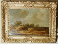 Landscape painting by Dutch master artist painter Jan Van Goyen or Pieter Molijin oil on wood gilt frame two figures sitting two cows.